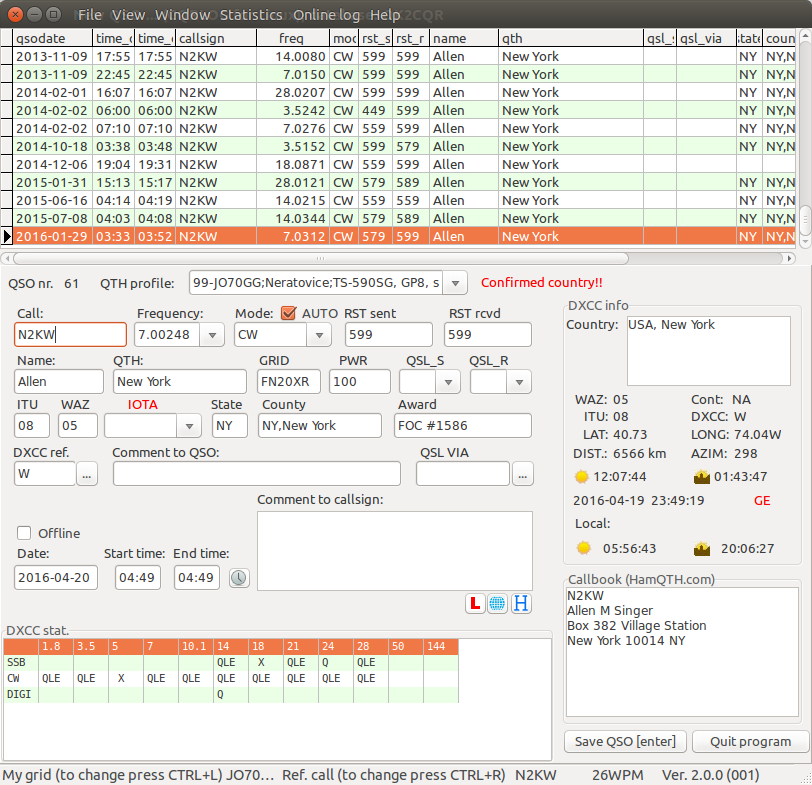 9M2PJU: CQRLog - World's Best Ham Radio Logging App For Linux